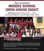 November 8 Middle School Open House Night