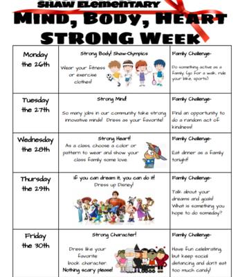 Healthy Mind, Body and Hearts Week Next Week!