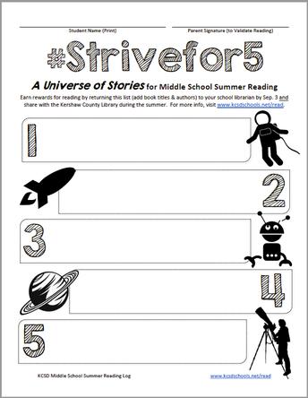 Strive for 5! MS Summer Reading Log