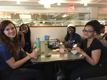 Sky, Joya, LaNeise, and Ms. Esbrook at U of M's cafeteria