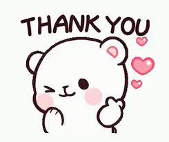 Thank you, drawn bear with hearts