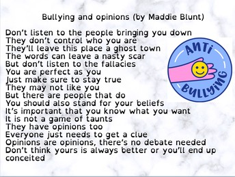 Bullying and opinions by Maddie B.