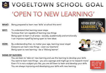 SCHOOL GOAL: Being 'open' to new learning!