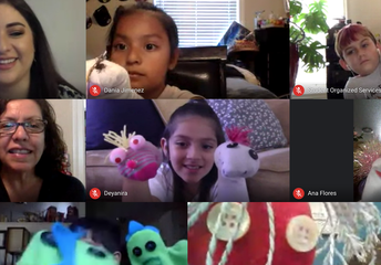 Students sharing their puppets with Maestra Nuria and Dina