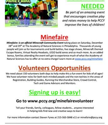 Volunteers Needed for Minefaire Event