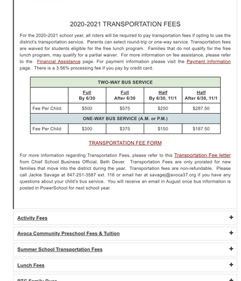 Fee Types & Explanations