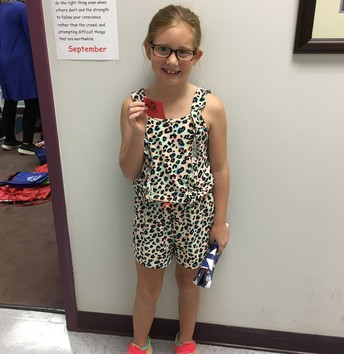 Hailey earned a Red Raider prize!