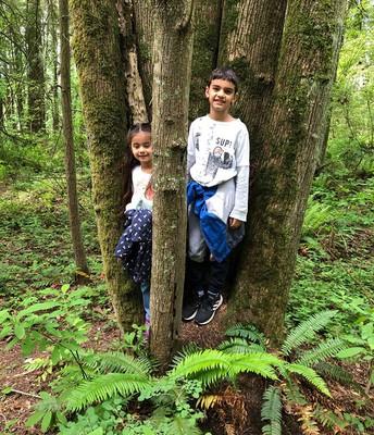 Gianna and Mason explored the Sehome Arboretum!