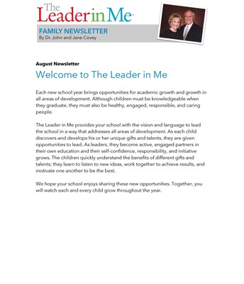 The Leader in Me August Newsletter