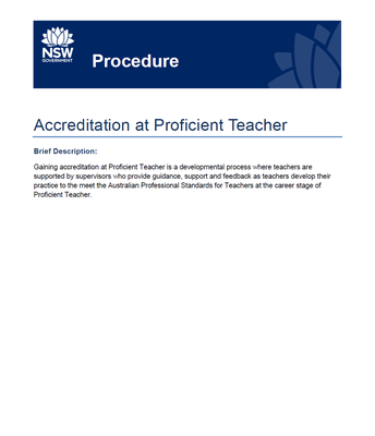 Accreditation at Proficient Teacher