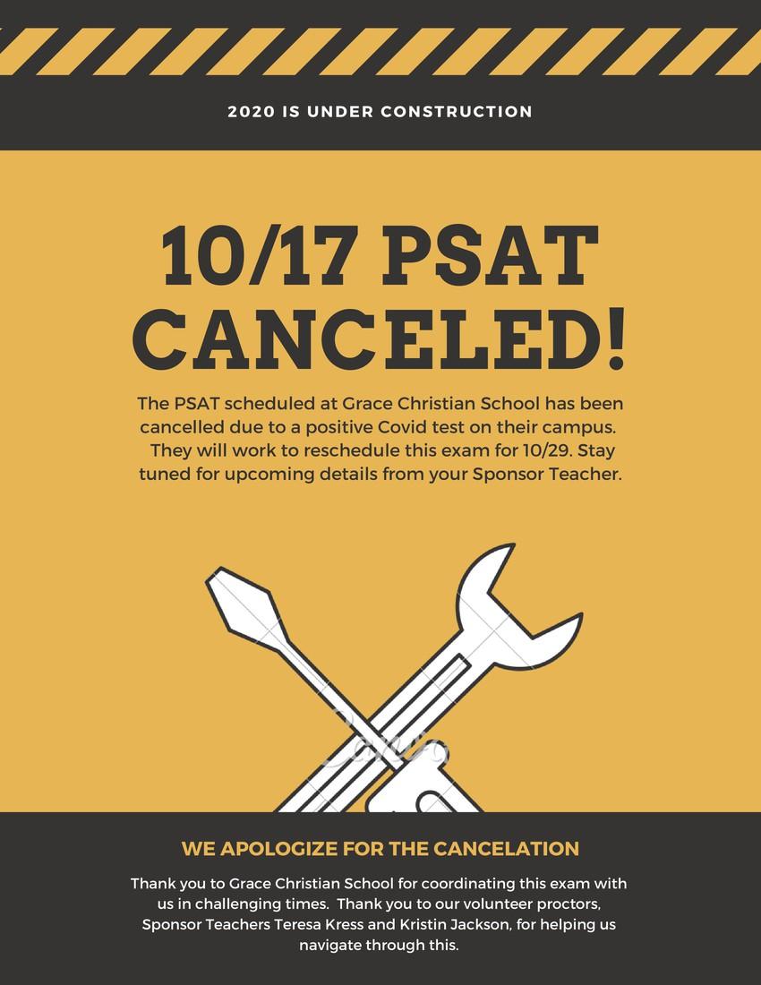 10/17 PSAT exam reschedule info