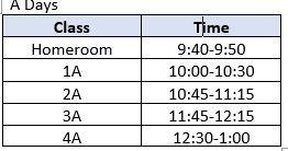 Virtual Class Meeting Schedule