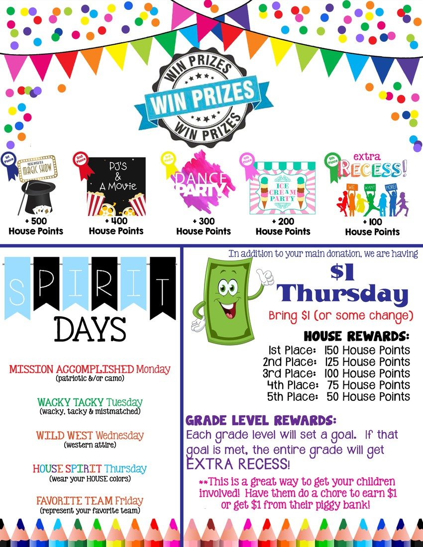 Spirit Days for Leave a Legacy and House prizes