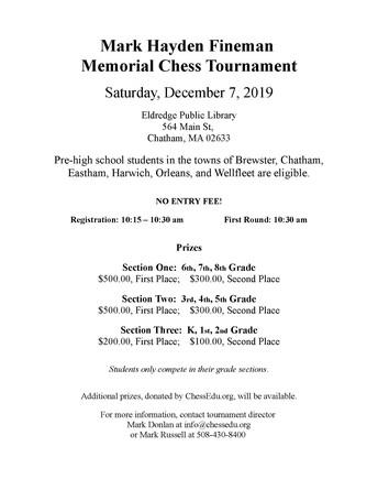 Enter the Mark Hayden Fineman Memorial Chess Tournament