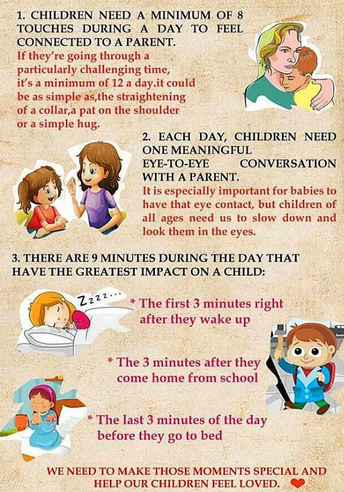 Children Need a Minimum of 8 Touches During a Day to Feel Connected to a Parent