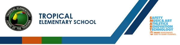 A graphic banner that shows Tropical Elementary School's name and SMART logo