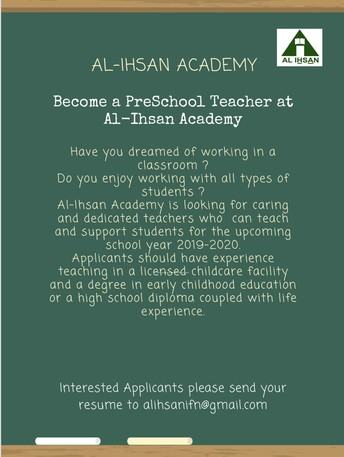 Al Ihsan Academy Calling Applications for Teachers