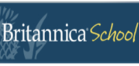 Britannica School icon written in white and yellow against a blue background