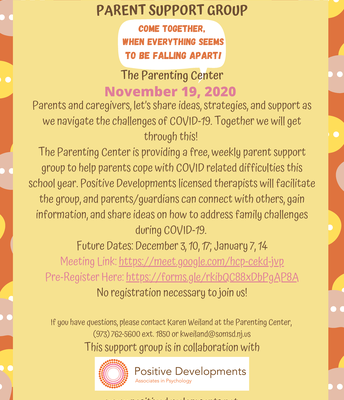 Parenting Center:  Weekly Parenting Center Support Group