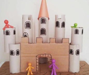 Make a castle out of paper towel rolls and cardboard