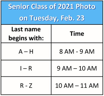 Senior Info for Class of 2021 (New!)