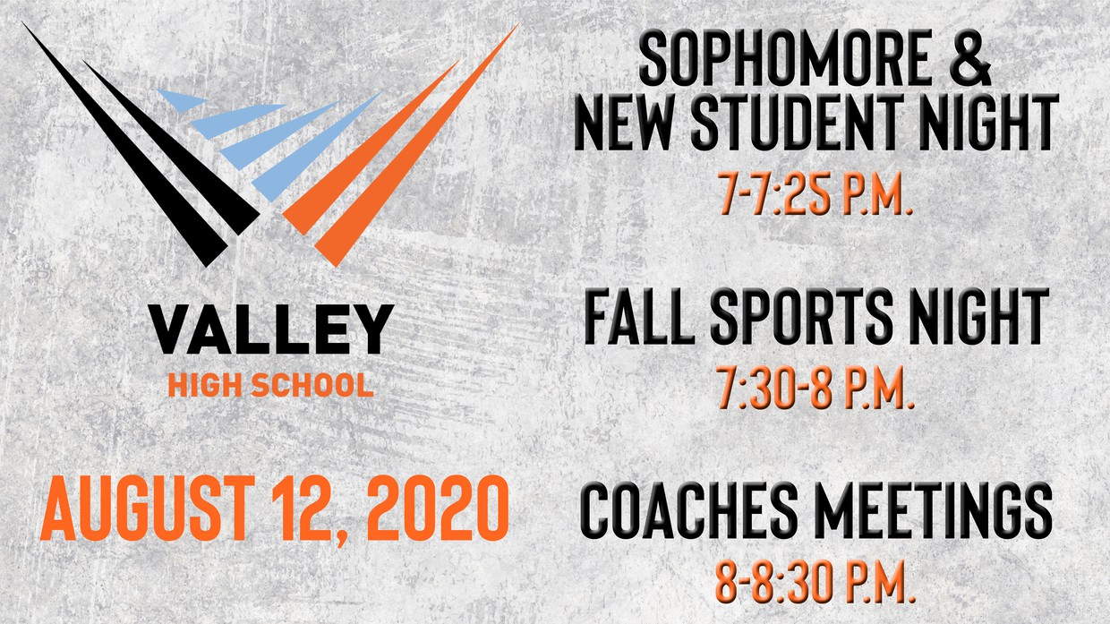 Fall Sports Night graphic promotion (Aug. 12)