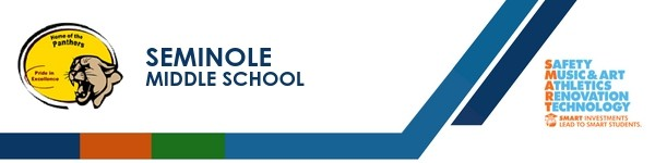 A graphic banner that shows Seminole Middle School's name and SMART logo