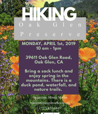 Hiking at the Oak Glen Preserve