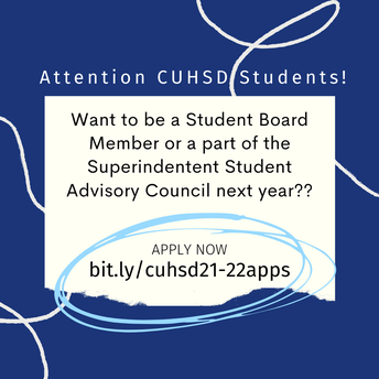 Apply NOW-April 16th  to be a member of the Superintendent Student Advisory Council in 21-22
