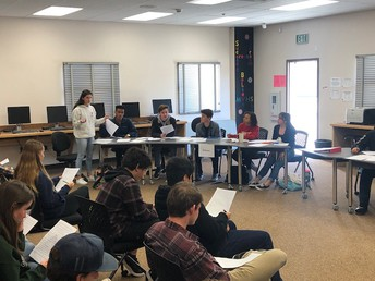 Criminology students conduct a mock trial and jury selection process.