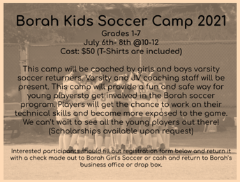 Borah Kids Soccer Camp
