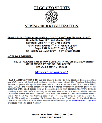CYO Spring Sports Registration