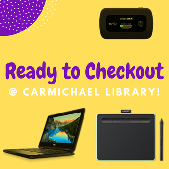 Title Image: Ready to Checkout @ Carmichael Library!