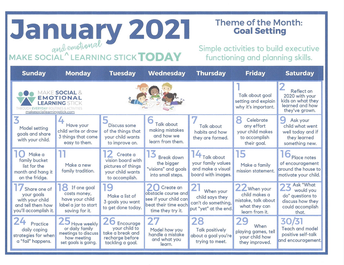 Social and Emotional Learning January Theme: Goal Setting