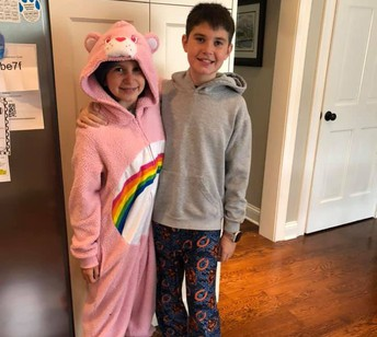 Kevin (5 Emma) and Audrey (3 Feeley) Turner are ready for comfy day during spirit week!