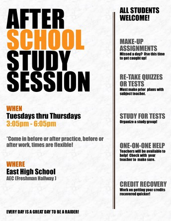 After School Study Sessions ~ January 4 -15th 2021