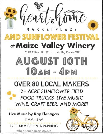 Heart & Home Marketplace + Sunflower Fest ~ Saturday, August 10