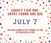 County Fair Pre-Entries Due Today! (July 7)