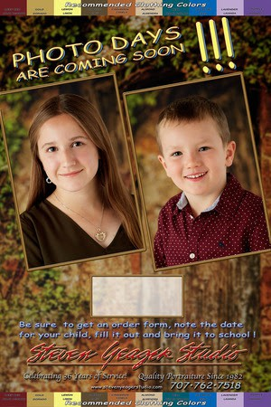 Say...Shamrocks!  School Pictures with Photographer Steven Yeager, 9/13 & 14