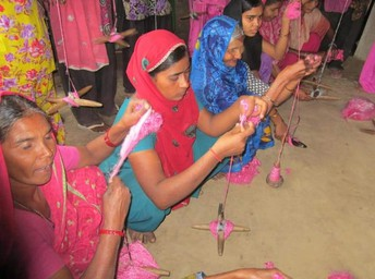 Recycling sari silk ribbons provides home based work for women