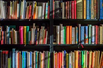 stock photo of books on shelves