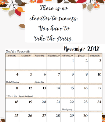 Dates to Remember for November