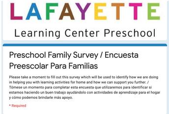 Preschool Family Survey