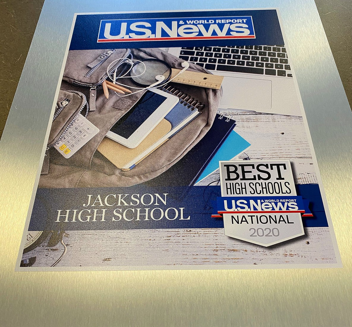 Jackson High School was named one of the top 50 high schools in Ohio and one of the best in the country by U.S. News & World Report this past spring. This plaque, which will hang in Jackson High School, arrived this week.