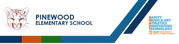 A graphic banner that shows Pinewood Elementary school's name and logo with the SMART logo