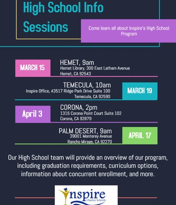 High School Info Sessions! CORONA