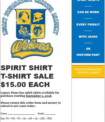 Spirit Shirt Order Form