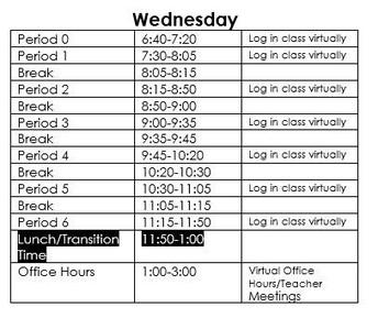 Wednesday Schedule