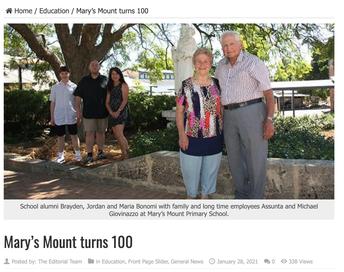"""MARY'S MOUNT TURNS 100"" Echo News, January 28 2021"