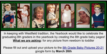 8th GRADERS! Send in Your Baby/Toddler Picture for the Yearbook
